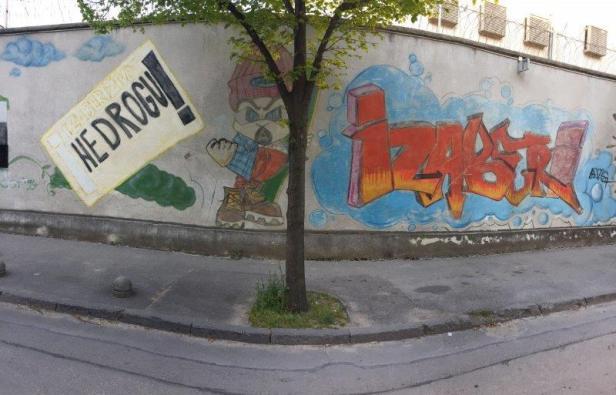 Mostar Street Art JVA Wand Drogen